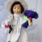 Подарки к праздникам ручной работы. Ярмарка Мастеров - ручная работа Ватная елочная игрушка - Девочка с котом и цветами. Handmade.