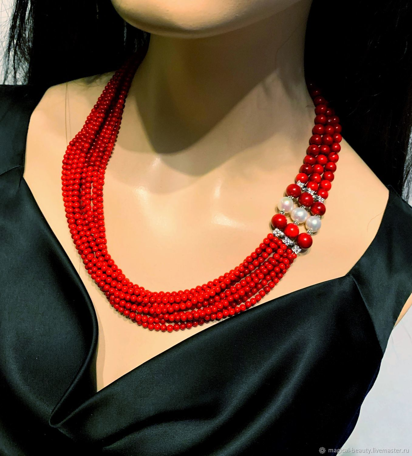 Necklace with coral and pearls, Necklace, Moscow,  Фото №1