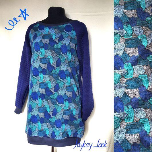 """Платья ручной работы. Ярмарка Мастеров - ручная работа. Купить Платье """"медведи"""". Handmade. Синий, свитшот с рисунком, медведи, family"""