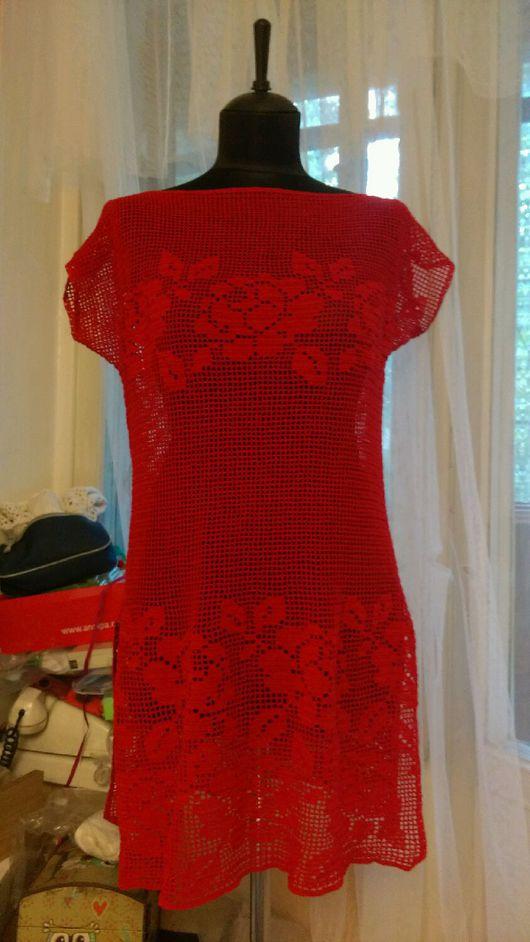 Пляжные платья ручной работы. Ярмарка Мастеров - ручная работа. Купить Летнее платье-туника из огненно-красного хлопка, филейное кружево.. Handmade.