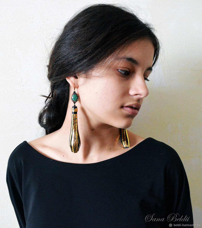 Leather earrings-brushes with emeralds, Tassel earrings, Ekaterinburg,  Фото №1