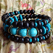 Украшения handmade. Livemaster - original item Bracelet made of wood with turquoise. Handmade.