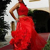 Одежда ручной работы. Ярмарка Мастеров - ручная работа Платье красное фламенко. Handmade.