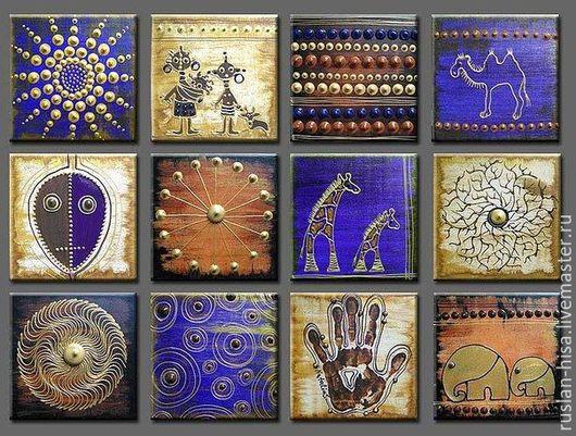 Пейзаж ручной работы. Ярмарка Мастеров - ручная работа. Купить Абстракция Африка. Handmade. Тёмно-синий, картина, картина маслом