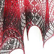 """Аксессуары ручной работы. Ярмарка Мастеров - ручная работа Шаль """" Эфирная"""" черно - красная. Handmade."""