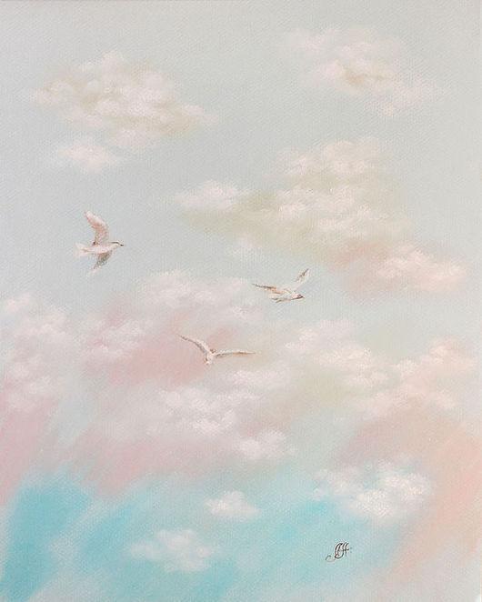 Пейзаж ручной работы. Ярмарка Мастеров - ручная работа. Купить Облака. Handmade. Облака, мечты, полет, облако, картина птицы