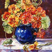 Картины и панно handmade. Livemaster - original item Oil painting Nasturtium blossoms. Handmade.
