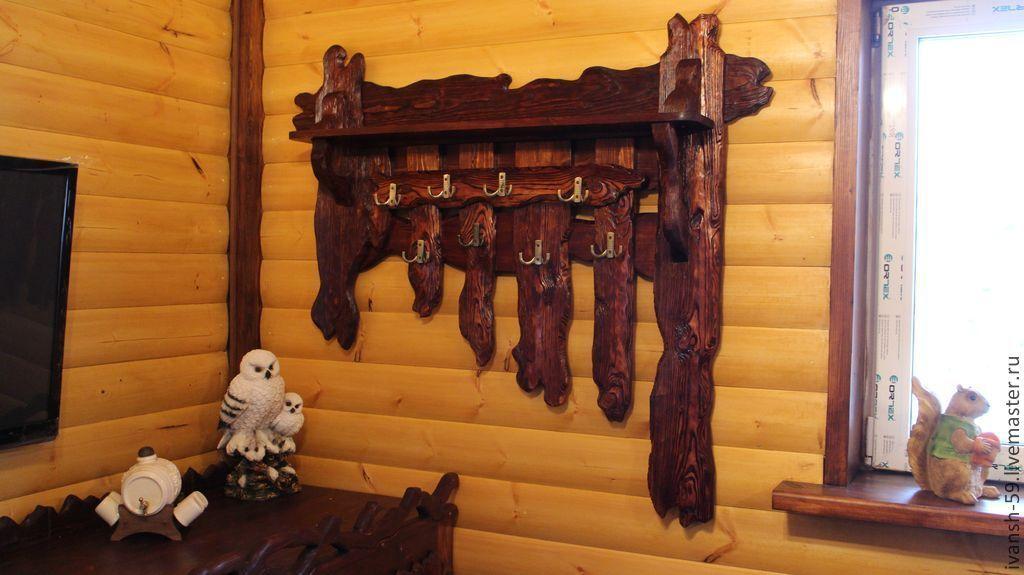 Вешалка для бани своими руками из дерева фото