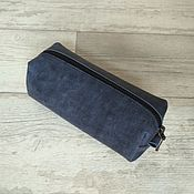 Сумки и аксессуары handmade. Livemaster - original item Leather cosmetic bag-pencil case Blue. Handmade.