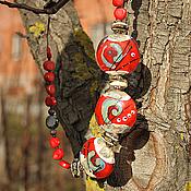 """Украшения ручной работы. Ярмарка Мастеров - ручная работа Колье лэмпворк """"Красный - цвет огня"""". Handmade."""