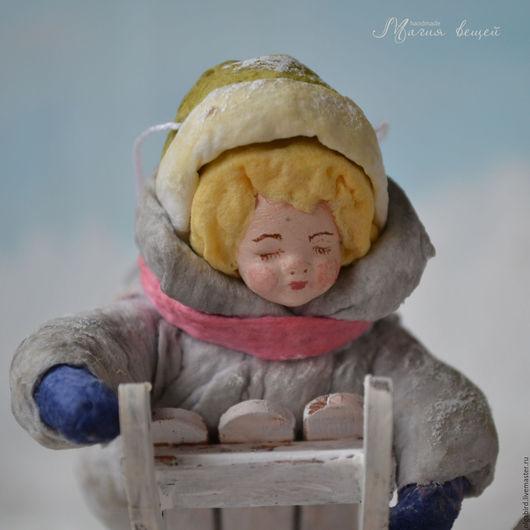 Новый год 2017 ручной работы. Ярмарка Мастеров - ручная работа. Купить Ватная елочная игрушка МАЛЬЧИК НА САНКАХ. Handmade.