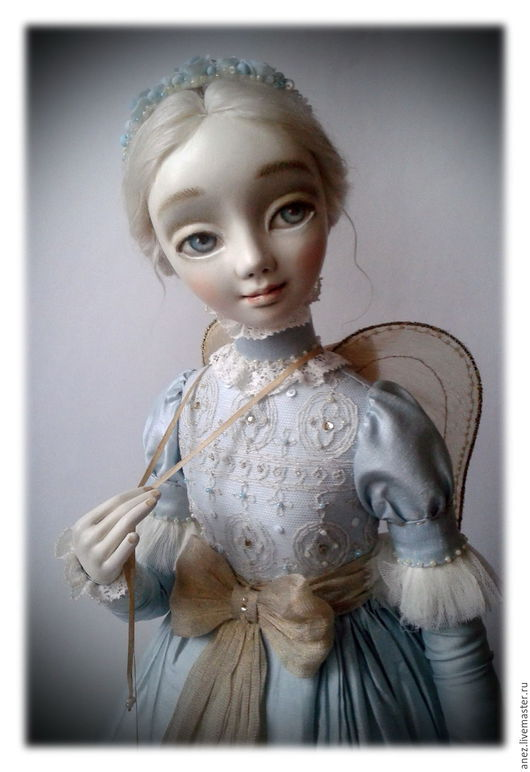 """Коллекционные куклы ручной работы. Ярмарка Мастеров - ручная работа. Купить """"Ангелия"""". Handmade. Голубой, белый, шёлк натуральный"""