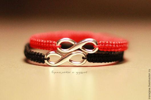 Браслеты ручной работы. Ярмарка Мастеров - ручная работа. Купить Парные браслеты с бесконечностью из серебра красный + черный. Handmade.