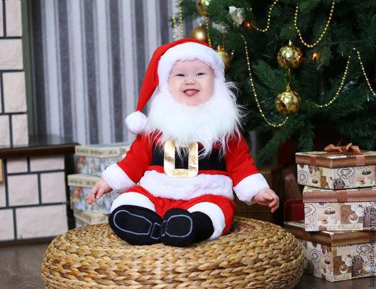 Карнавальный новогодний костюм Санты для малышей и детей