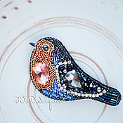 Малиновка (зарянка) Вышитая брошь птичка. Бисер, пайетки, кристаллы