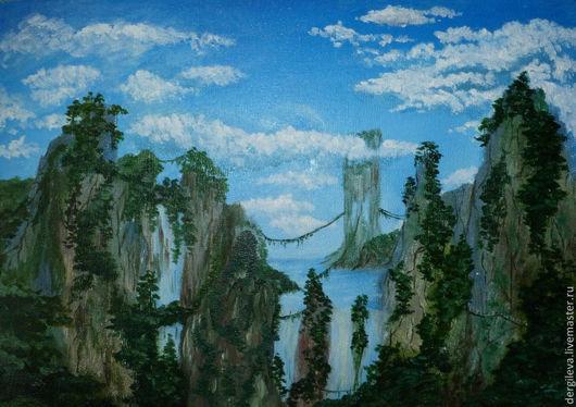 Пейзаж ручной работы. Ярмарка Мастеров - ручная работа. Купить Картина. Фантастический мир.. Handmade. Фантастика, горы, водопад, скалы