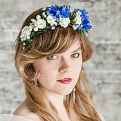 Свадебный салон ручной работы. Ярмарка Мастеров - ручная работа Синий ободок с цветами, синее украшение для волос, венок с васильками. Handmade.