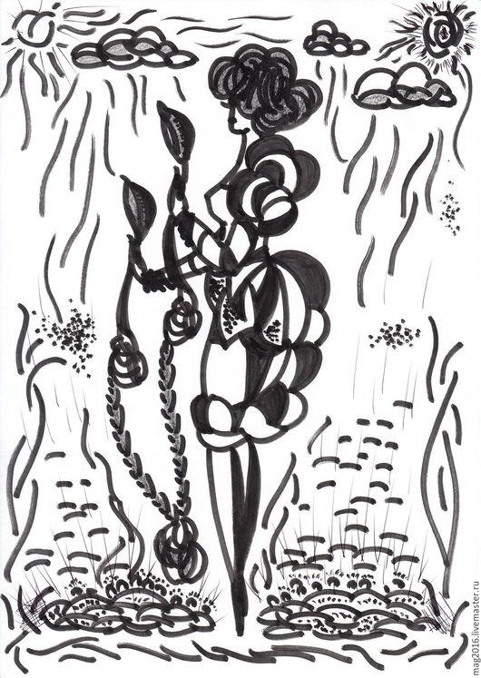 Иллюстрации ручной работы. Ярмарка Мастеров - ручная работа. Купить Она в себе. Handmade. Рисунок, иллюстрация, женщина, реклама, подарок