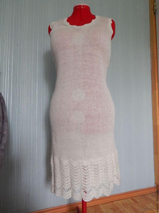"""Платья ручной работы. Ярмарка Мастеров - ручная работа. Купить Летнее платье """"Белый лен"""". Handmade. Белый, платье-сарафан"""
