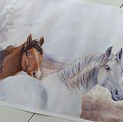 Картины и панно handmade. Livemaster - original item Watercolor painting ash October (red ash horse couple). Handmade.