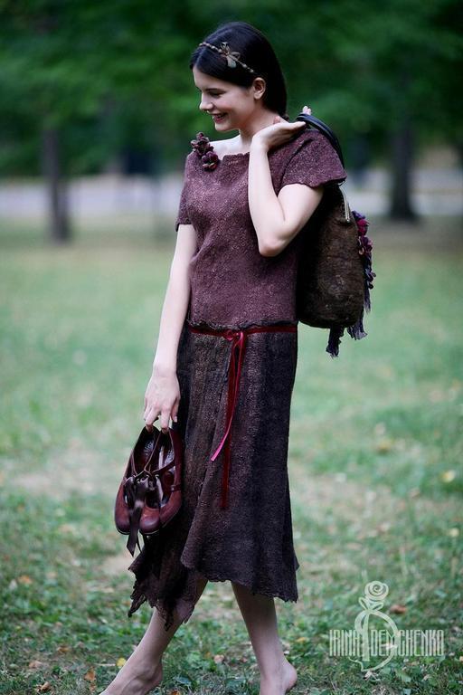 Платья ручной работы. Ярмарка Мастеров - ручная работа. Купить Валяное платье «Dream on». Handmade. Коричневый, нежность, forest