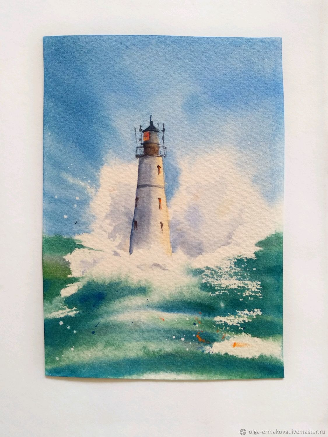 Watercolor postcard for February 23 sea lighthouse storm waves man Moscow, Interior elements, Moscow,  Фото №1