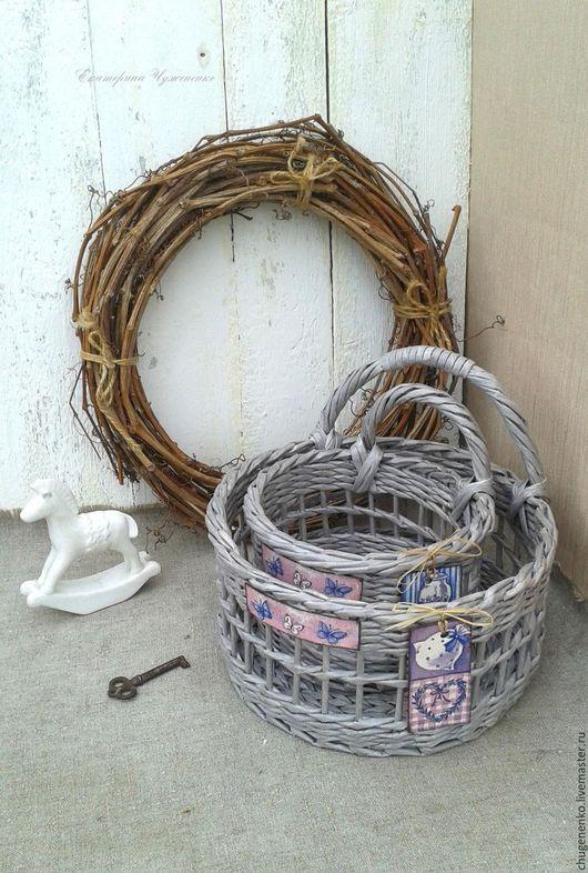Корзины, коробы ручной работы. Ярмарка Мастеров - ручная работа. Купить Корзины плетеные Вечерние. Handmade. Плетение из бумаги