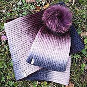 handmade. Livemaster - original item Burgundy set (Snood in 2 turns hat with pompom). Handmade.