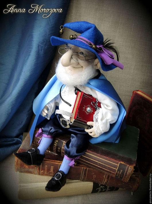 """Сказочные персонажи ручной работы. Ярмарка Мастеров - ручная работа. Купить """"Гном- Сказочник"""" - авторская текстильная кукла. Handmade. Синий"""