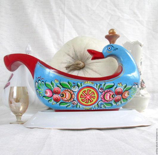 Декоративная посуда ручной работы. Ярмарка Мастеров - ручная работа. Купить Братина с оберегами. Handmade. Братина, дерево, для фруктов, лебедь