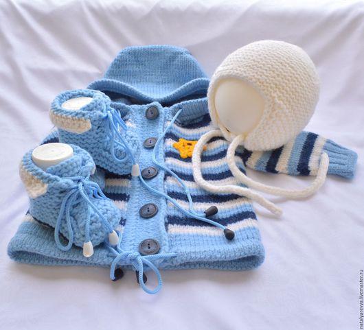 """Для новорожденных, ручной работы. Ярмарка Мастеров - ручная работа. Купить Комплект для мальчика """"Капитошка"""". Handmade. Голубой, комплект для малыша"""