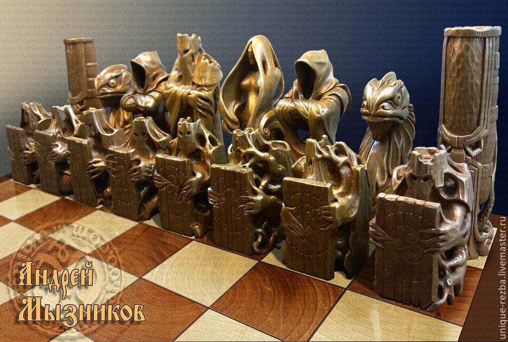 Фигуры шахматные из дерева ручной работы