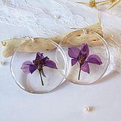 Украшения handmade. Livemaster - original item Transparent Earrings with Real Flowers and Leaves Violet Flowers. Handmade.