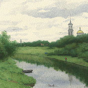 Картины и панно handmade. Livemaster - original item Online shop of paintings for the interior of Torzhok Fisherman landscape watercolor. Handmade.