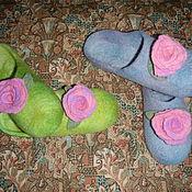 Обувь ручной работы. Ярмарка Мастеров - ручная работа Валяные тапочки с розой. Handmade.