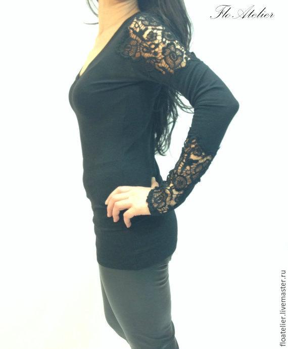 Блузки с кружевом черные купить