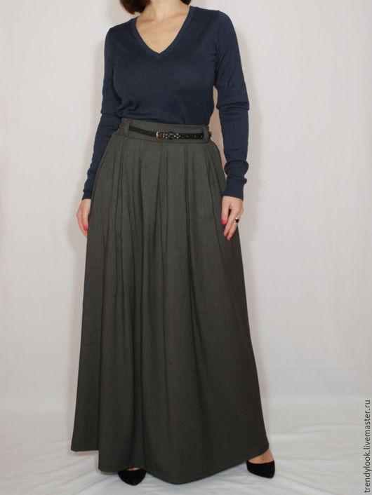 Юбки ручной работы. Ярмарка Мастеров - ручная работа. Купить Длинная юбка с карманами, темно-серая юбка в складку, теплая юбка. Handmade.