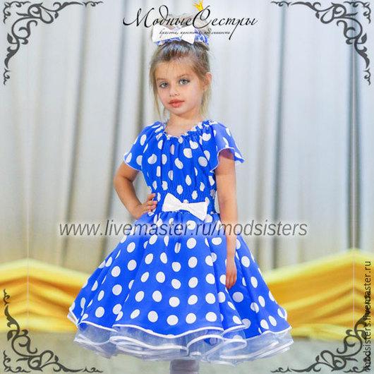 """Одежда для девочек, ручной работы. Ярмарка Мастеров - ручная работа. Купить Детское платье """"Голубое в белый горох"""" Арт.-056. Handmade."""