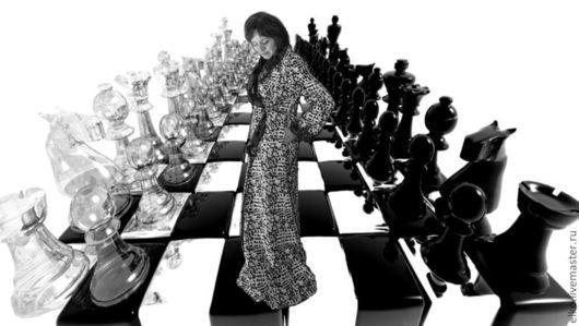 """Платья ручной работы. Ярмарка Мастеров - ручная работа. Купить """"Шахматная королева"""" домашнее платье-халат. Handmade. Чёрно-белый"""