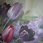 """Картины и панно ручной работы. Ярмарка Мастеров - ручная работа Картина """"Черные тюльпаны"""" живопись. Handmade."""