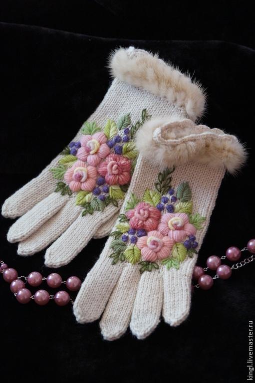 вязаные перчатки с ручной вышивкой и мехом норки вечное ретро