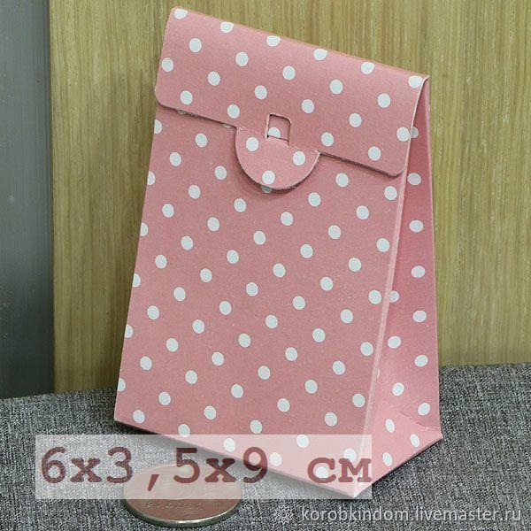6х3,5х9 - коробочка-пакетик розовая в белый горошек, Коробки, Санкт-Петербург,  Фото №1