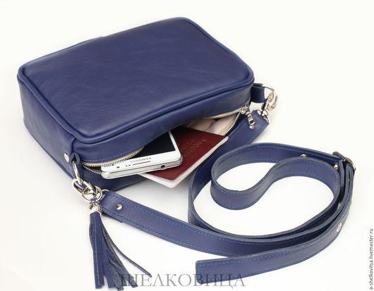Женские сумки ручной работы. Ярмарка Мастеров - ручная работа. Купить Синяя сумочка с кистью. Handmade. Тёмно-синий