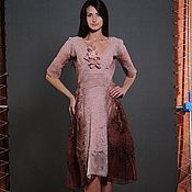 """Одежда ручной работы. Ярмарка Мастеров - ручная работа Валяное платье на шелке """"Brun clair"""". Handmade."""