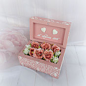 Свадебный салон handmade. Livemaster - original item Jewelry box for rings with initials. Peach lace.. Handmade.