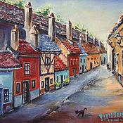 Картины и панно handmade. Livemaster - original item Oil painting PRAGUE. Golden lane. Handmade.