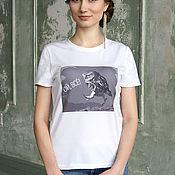 Футболки ручной работы. Ярмарка Мастеров - ручная работа Белая летняя футболка Сова, приталенная футболка с кружевными рукавами. Handmade.