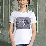 T-shirts handmade. Livemaster - original item White summer Owl t-shirt, fitted t-shirt with lace sleeves. Handmade.