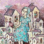 Картины ручной работы. Ярмарка Мастеров - ручная работа Картина маслом «Девушка с пионом». Handmade.