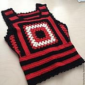 """Одежда ручной работы. Ярмарка Мастеров - ручная работа Вязаный крючком жилет """"Бабушкин квадрат"""". Handmade."""